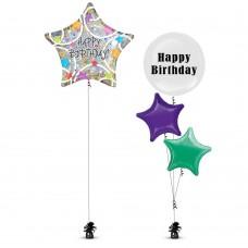 Birthday Star Silver Balloon