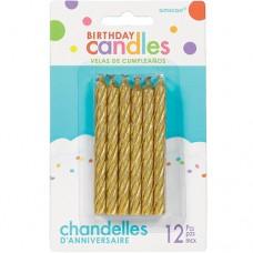 Gold Spiral Glitter Candles