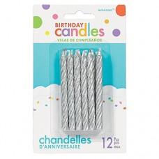 Silver Spiral Glitter Candles