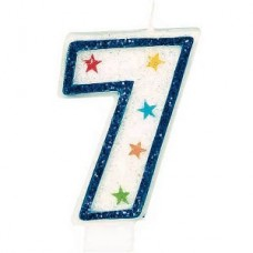 Star Studded Number 7 Candle