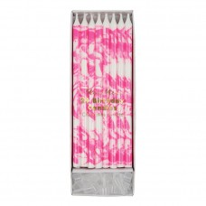Neon Pink Marbled Candle
