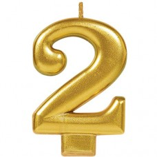 Numeral #2 Gold Candle