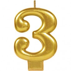 Numeral #3 Gold Candle
