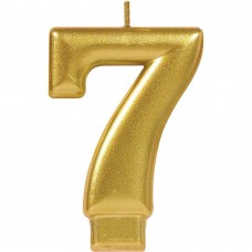 Numeral #7 Gold Candle