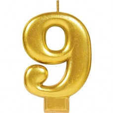 Numeral #9 Gold Candle