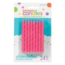 Pink Spiral Glitter Candles