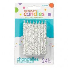 White Spiral Glitter Candles