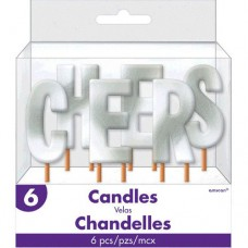 CHEERS Silver Metallic Candle Pick