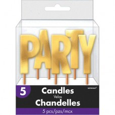 PARTY Silver Metallic Candle Pick
