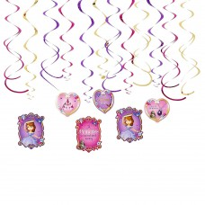 Sofia The First 12 Swirl Decorations