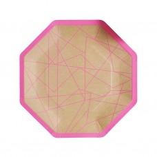 Kraft & Neon Pink Geometric Paper Plates
