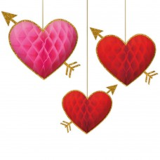 Honeycomb Red Heart Decoration