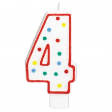 Party Dot Number 4 Candle