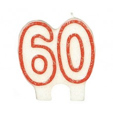 Number 60 Glitter Red Candle