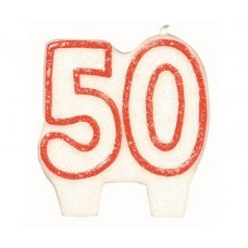 Number 50 Candle Glitter Red