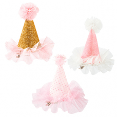 We Heart Pink Mini Fabric Clip On Party Hat