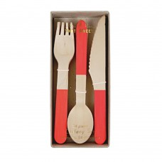 Wooden Cutlery Red