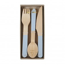 Wooden Cutlery Light Blue